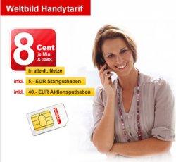 Weltbild Prepaid Karte mit 45€ Guthaben für nur 2,45€ / nur 8 Cent pro Minute/SMS
