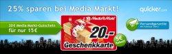 20 € Media-Markt-Gutschein für 15 € (Quicker)