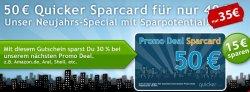 50€ Quicker Sparcard für 35€ und damit einen Amazon, Aral oder Shell Gutschein mit 15€ Ersparnis kaufen