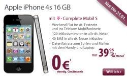 Aktion bis 31.1: iPhone 4S für 0,- Euro im besonders günstigen Complete S Tarif der Telekom bei gethandy.de