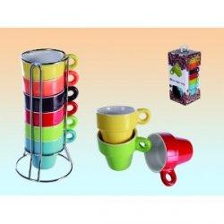 Espresso Set 6 Tassen regenbogenfarbig im Ständer + Geschenkbox für 2,99€ bei amazon