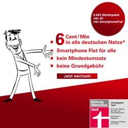 Günstiges Prepaid-Angebot: 6 Cent/Min in ALLE Netze + optionale Internetflat für 7,99 € (Drossel ab 500 MB)