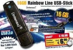 Intenso 16GB USB-Speicherstick Rainbow Line für 6,90 + Versand bei Pearl