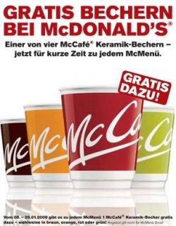 Neue kostenlose McDonalds Tassen beim Kauf eines McMenüs ab 30.01.12