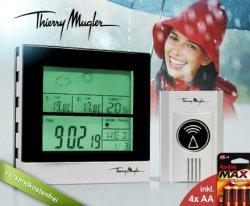 Stylische Thierry Mugler Funk-Wetterstation mit Trendanzeige, Mondphasen etc. für 9,95 statt 29,95 Euro inkl.Versand und Batterien bei Dailydeal