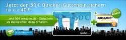 Wieder verfügbar Amazon Gutschein Wert 50€ für 40€ kaufen bei Quicker.com