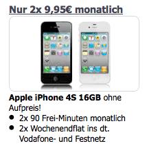 Apple iPhone 4S 16GB für effektiv 477,60€ mit Vodafone Allnet 90 Wochenende Duo (2 Verträge) @eteleon.de