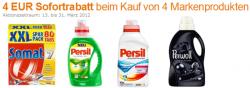 Amazon: 4€ Sofortrabatt beim Kauf von 4 Markenprodukten (Persil, Perwoll, Sil, Bref, Somat)