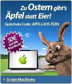 """Apple statt Eier: 50 € Rabatt auf MacBooks (z.B. 13""""-MacBook Air für 499 €) bei rebuy"""