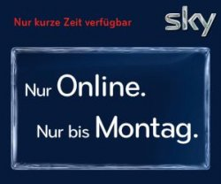 Nur bis Montag – Sky Komplett im 12 Monatsabo  –  40% günstiger – nur 39,90€ anstatt 65,90€ inkl. HD-Receiver / Bundesliga / Film / Sky Welt