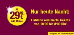 Nur heute Nacht bei Germanwings: 1 Million Tickets ab 29,99 €