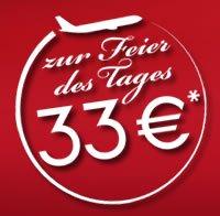 33 Jahre airberlin – 333.333 Tickets für 33 € nur am 28. April