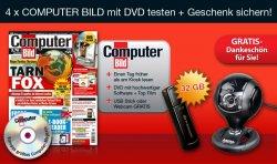 6 (4 + 2 Ausgaben bei Bankeinzug) Ausgaben COMPUTER BILD mit DVD + 32 GB Transcend USB 3.0 Stick für 14,80€