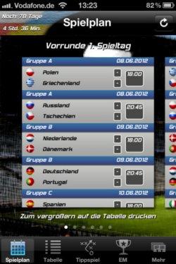 Euro 2012 iPhone iPad App nur 79 Cent