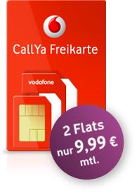 Gratis Vodafone Prepaid-Karte+ 1€ Startguthaben + 2 Flats für 9,99€ mtl.