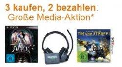 Große Media 3 für 2 Aktion bei Amazon: Games, Filme, Musik und engl. Bücher frei kombinierbar