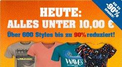 Nur am Donnerstag: T-Shirts und Tops reduziert auf unter 10€ Rabatte bis 90% bei 4clever.de