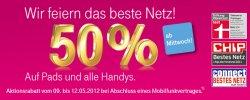 3 Tage Rabatt: 50% auf Pads und alle Handys @T-Mobile.de NUR vom 9. bis 12.05.2012