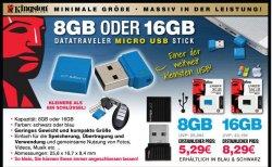 Kingston DataTraveler Micro USB Stick mit 8GB oder 16GB Speicher ab nur 5,29 inkl. Versand