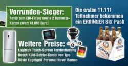 Six-Pack ERDINGER KOSTENLOS für die ersten 11.111 Teilnehmer beim Bild.de EM-Tippspiel!