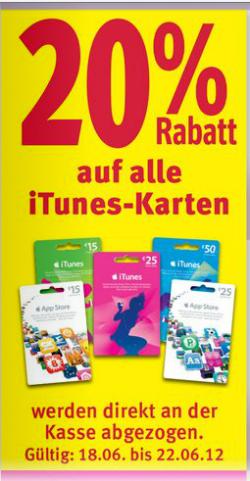 [LOKAL] ab 18.6 gibt es bei Rossmann auf iTunes Karten 20% Rabatt !