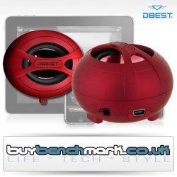 DBEST  aufladbare Mini Lautsprecher- Set Rot mit eingebautem Mp3-Player für £4,30