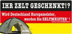 Nur Heute: Kostenloses ZELT von McTrek bei EM-Gewinn! (14-Tage Widerrufsrecht bei Onlinekauf!!!)