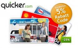 25€ Tankgutscheine für 18,50€ + 5% Gutschein bei quicker.de