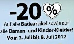 36% (20%+Extra 20%)auf Bademoden, Damen- und Kinderkleider bei C&A