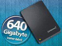 Intenso Festplatte mit 640 GB für nur 55,55 € oder gratis Taschenlampe oder Sportarmbanduhr (+ 4,90 VSK)