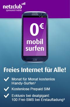 @dealgigant: netzclub Sponsored Surf-Basic: Jeden Monat surfen für 0,- Euro und 100 SMS