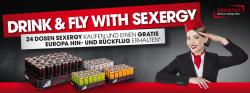 kostenloser Hin-und Rückflug durch Europa beim 24 Dosen sexergy !!