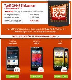 Neuer Sparhandy Bigdeal Juli komplett kostenlos: Motorola Defy Mini fü 1€