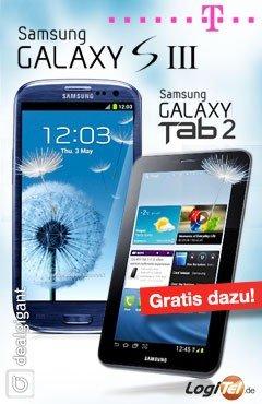 Samsung Galaxy S III + PLUS Galaxy Tab 2 gratis dazu für € 14,95 mit Telekom Vertrag @dealgigant.de
