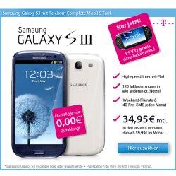 Samsung Galaxy SIII 16GB & Playstation Vita WiFi 3G: 39,95€ monatlich