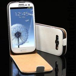 Samsung S3 SIII Galaxy i9300 Echt Leder Tasche Schutzfolie Schutzhülle weiss nur 9,66 € ink. VSK