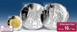 10-Euro-Gedenkmünze für 10 Euro + 2-Euro-Münze gratis!