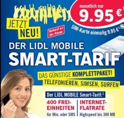 Ab Montag: Lidl Mobile Smart mit 400 Einheiten für SMS und Telefonie und Datenflat für 9,95€ im Monat