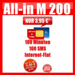All-in-M 100Minuten / 100SMS + Internet Flat für 3,95€ Mtl. + Amazon Gutschein!