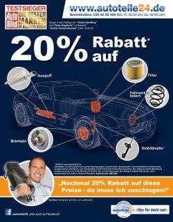 autoteile24 gibt 20% Rabatt auf Auspuff, Bremsen, Stoßdämpfer, Fahrwerksfedern und Filter