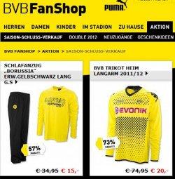 BVB Online Saison Schluss Verkauf. Trikots für 20€, Stutzen 5€ uvm. (bis zu 83%!)