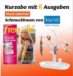 FREUNDIN Kurzabo mit 6 Ausgaben plus GRATIS koziol Schmuckbaum für 15,60EUR frei Haus