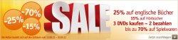 Großer Sale auf buch.de: Spielwaren bis zu 70%, 3 DVD´s zum Preis von 2, Restpostenverkauf
