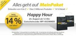 Happy Hour @MeinPaket.de 14% auf fast Alles – nur bis 18 Uhr!
