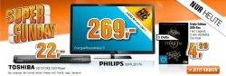 Heute wieder 3 Super Sunday Angebote @ Saturn! zb. TOSHIBA DVD Player 22€ inkl. Versand!