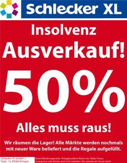 [LOKAL] Insolvenzausverkauf bei Schlecker XL: 50% auf alles außer preisgebundene Ware wie Tabak, Presseerzeugnisse und Bücher