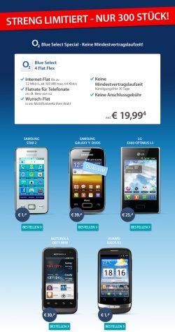 Sparhandy-BigDeal: o2 Blue Select 4 Flat Flex Tarif für mtl.19,99 € (mtl. kündbar) abschließen +  Handy dazu z.B. Huawei Ideos X3 für 1 Euro