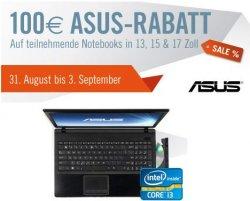 Nur 4 Tage: 100 Euro Rabatt auf teilnehmende Asus-Notebooks @cyberport