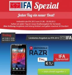 Sparhandy IFA-Special Deals: Motorola Razr, Nokia Lumia 800, Samsung Galaxy S III für 1€ (mit Vertrag)