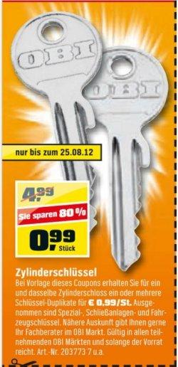 Zylinderschlüssel für 0,99€ bei Obi 80% sparen.